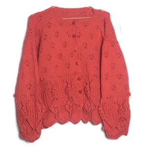 Pom Sleeve Oversized Chunky Loose Knit Cardigan